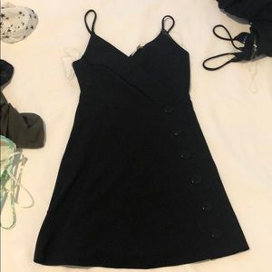 Black spaghetti strap dress with buttons